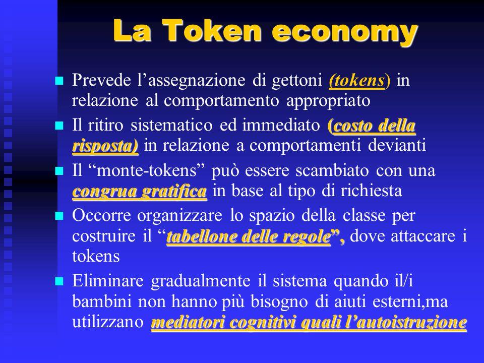 La Token economy Prevede l'assegnazione di gettoni (tokens) in relazione al comportamento appropriato.