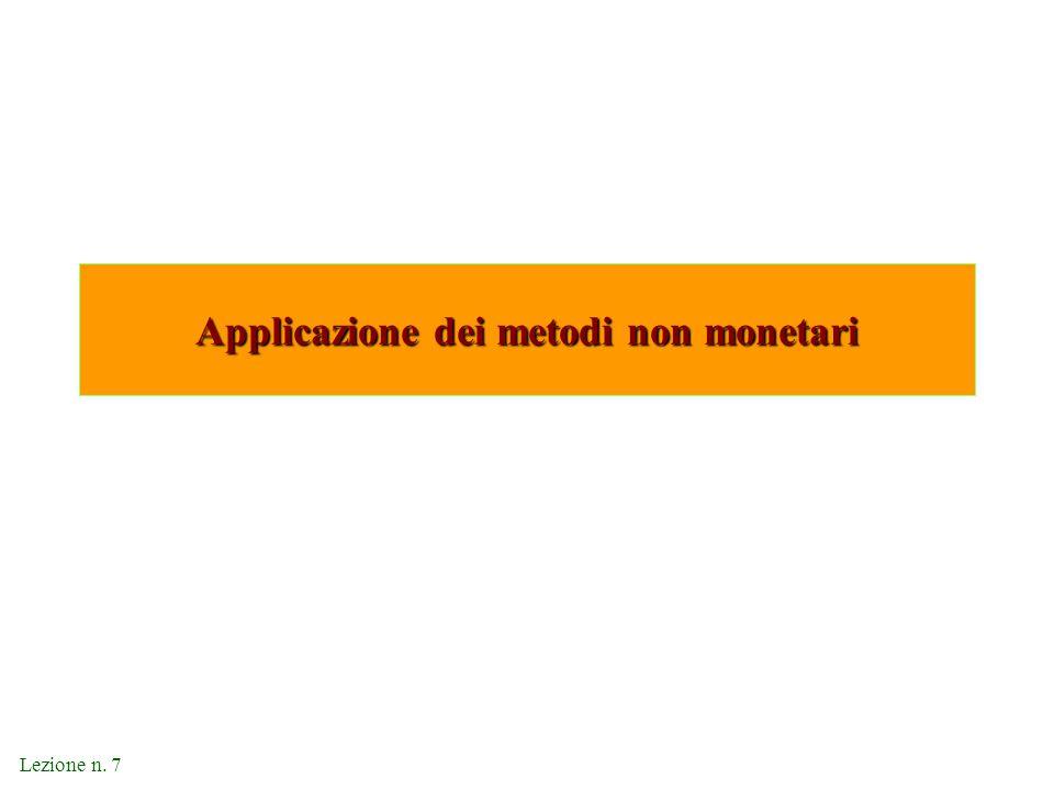 Applicazione dei metodi non monetari