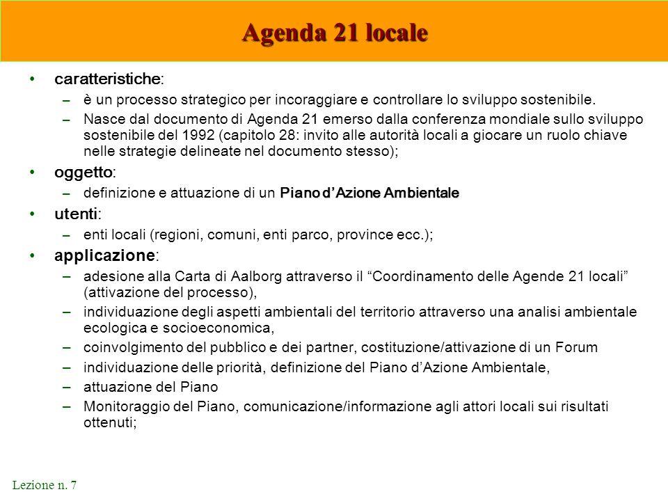 Agenda 21 locale caratteristiche: oggetto: utenti: applicazione: