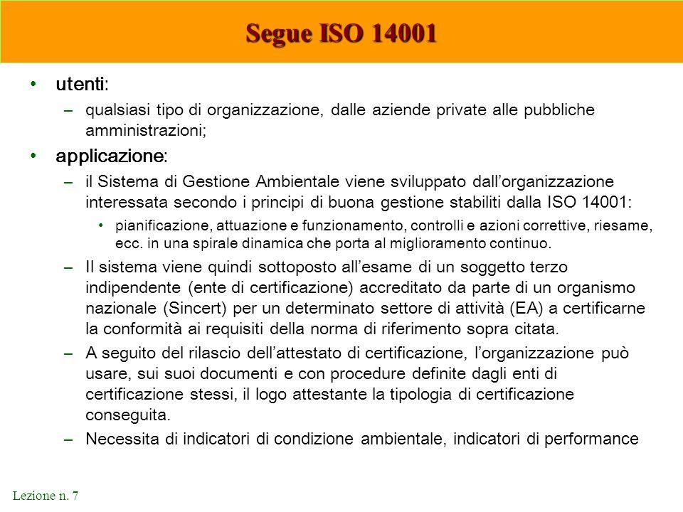 Segue ISO 14001 utenti: applicazione: