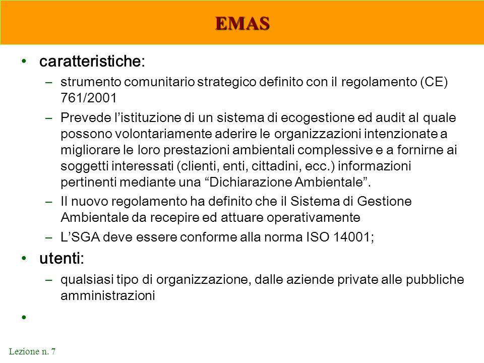 EMAS caratteristiche: utenti: