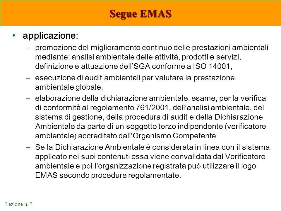 Segue EMAS applicazione: