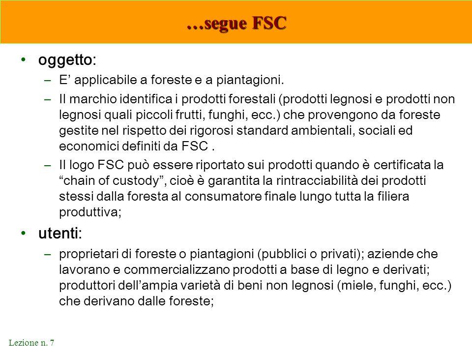 …segue FSC oggetto: utenti: E' applicabile a foreste e a piantagioni.