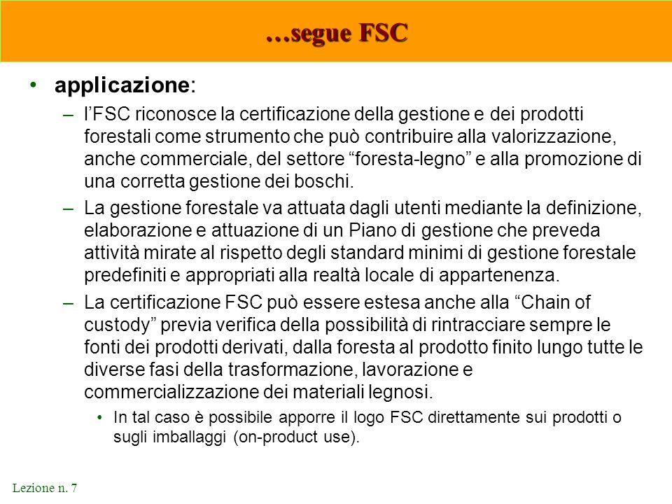 …segue FSC applicazione: