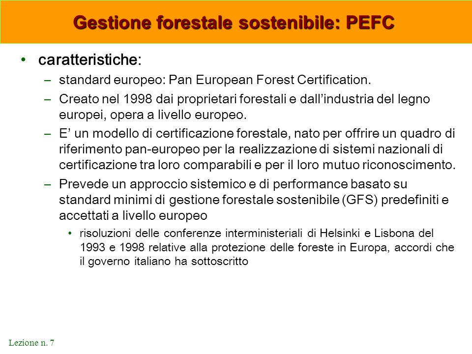Gestione forestale sostenibile: PEFC