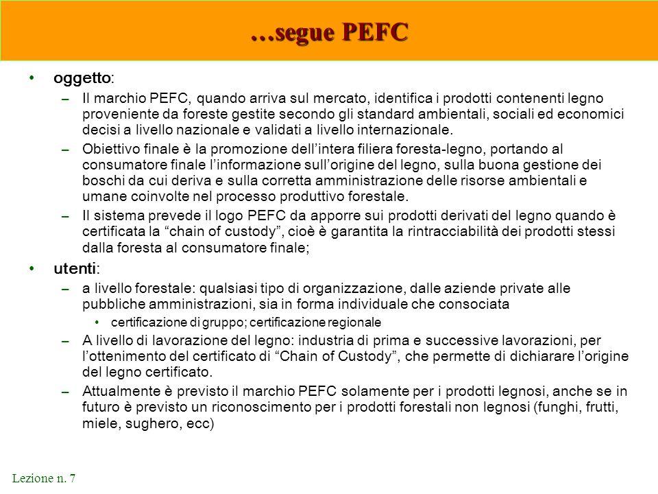 …segue PEFC oggetto: utenti: