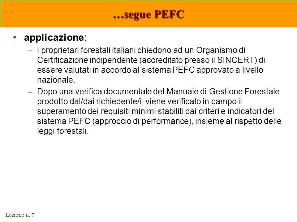 …segue PEFC applicazione: