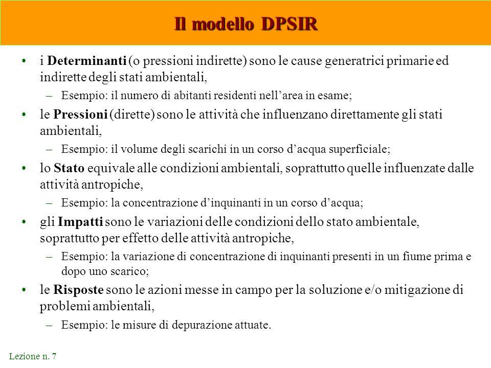Il modello DPSIR i Determinanti (o pressioni indirette) sono le cause generatrici primarie ed indirette degli stati ambientali,