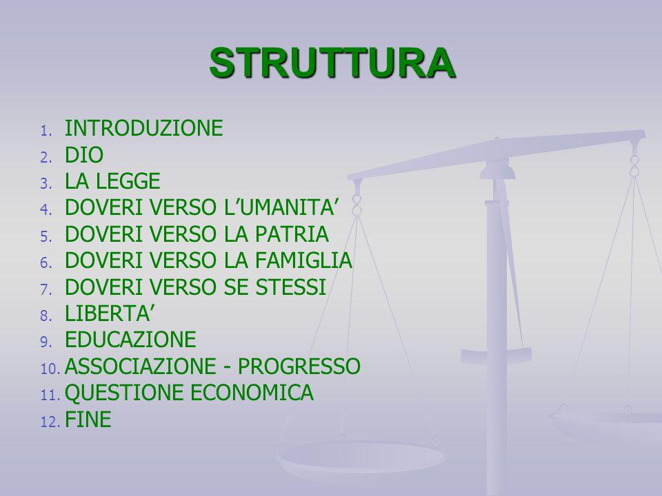 STRUTTURA INTRODUZIONE DIO LA LEGGE DOVERI VERSO L'UMANITA'