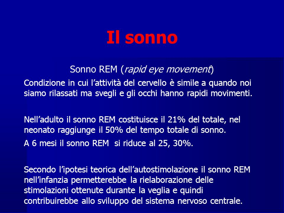 Sonno REM (rapid eye movement)
