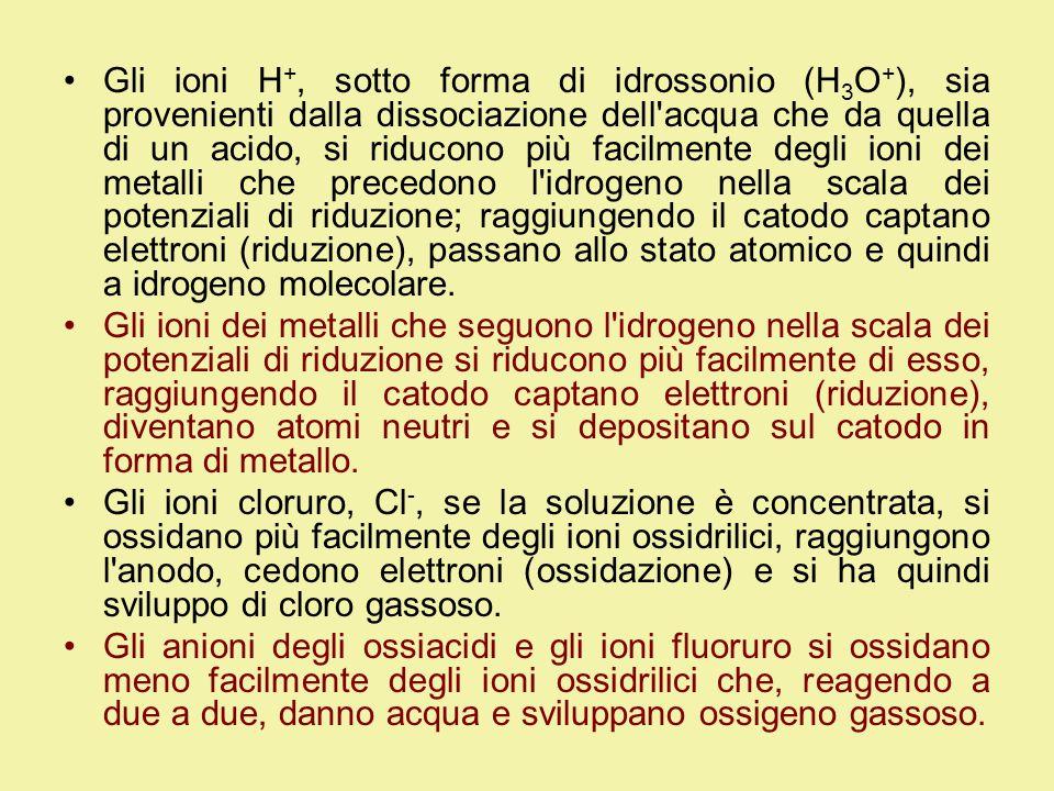 Gli ioni H+, sotto forma di idrossonio (H3O+), sia provenienti dalla dissociazione dell acqua che da quella di un acido, si riducono più facilmente degli ioni dei metalli che precedono l idrogeno nella scala dei potenziali di riduzione; raggiungendo il catodo captano elettroni (riduzione), passano allo stato atomico e quindi a idrogeno molecolare.