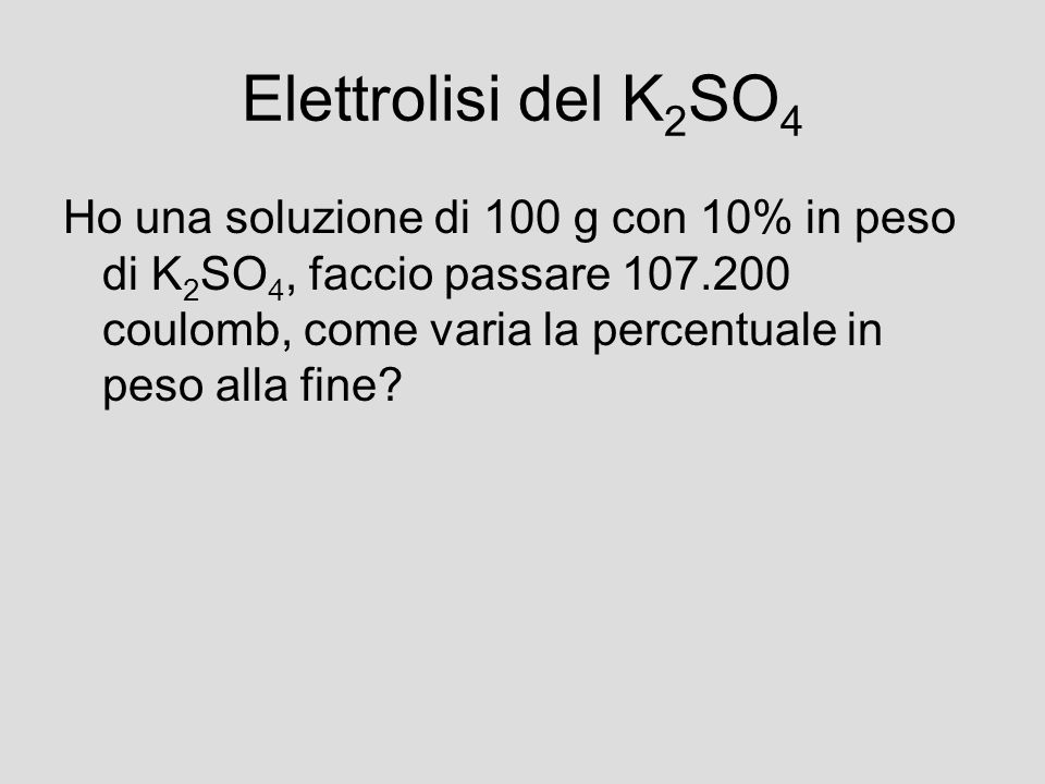 Elettrolisi del K2SO4
