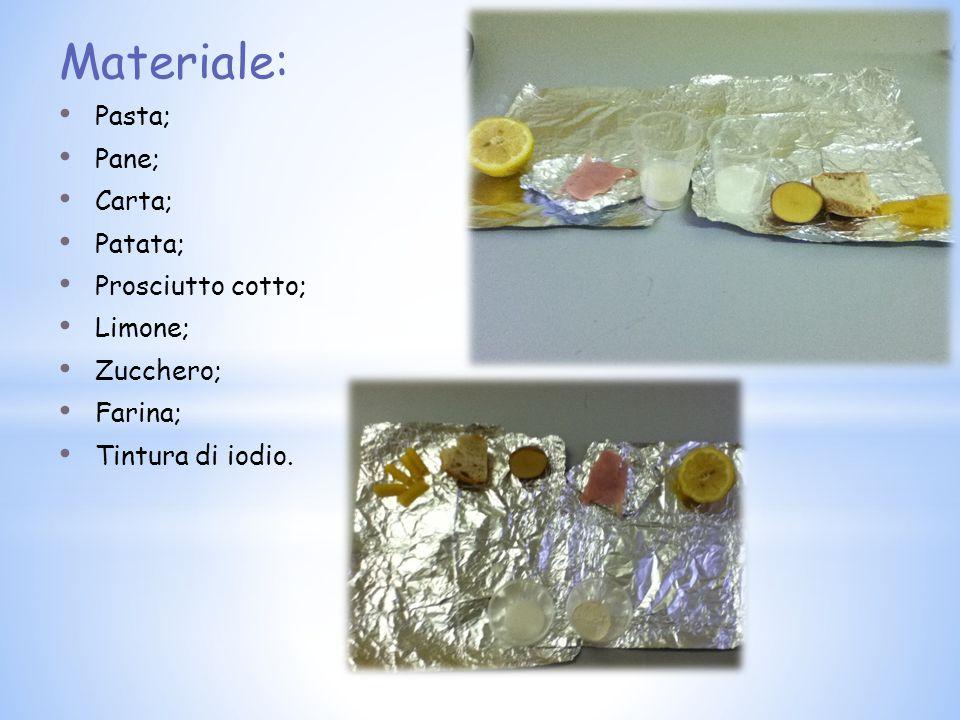 Materiale: Pasta; Pane; Carta; Patata; Prosciutto cotto; Limone;