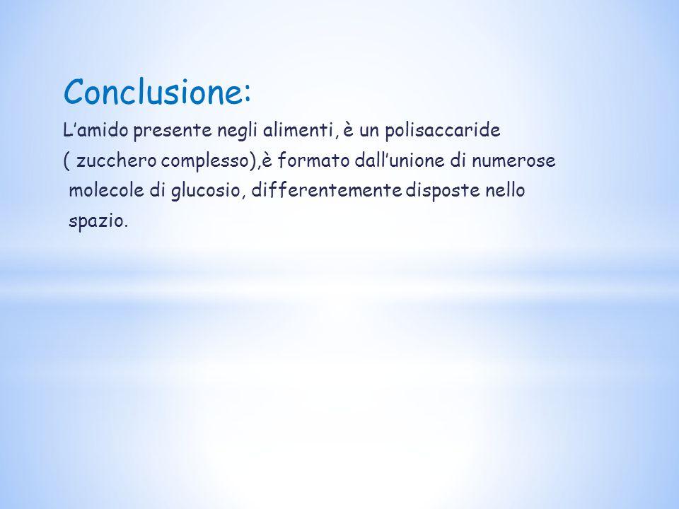 Conclusione: L'amido presente negli alimenti, è un polisaccaride