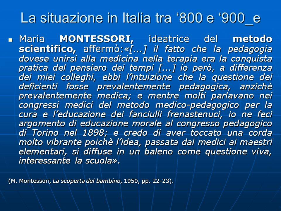 La situazione in Italia tra '800 e '900_e