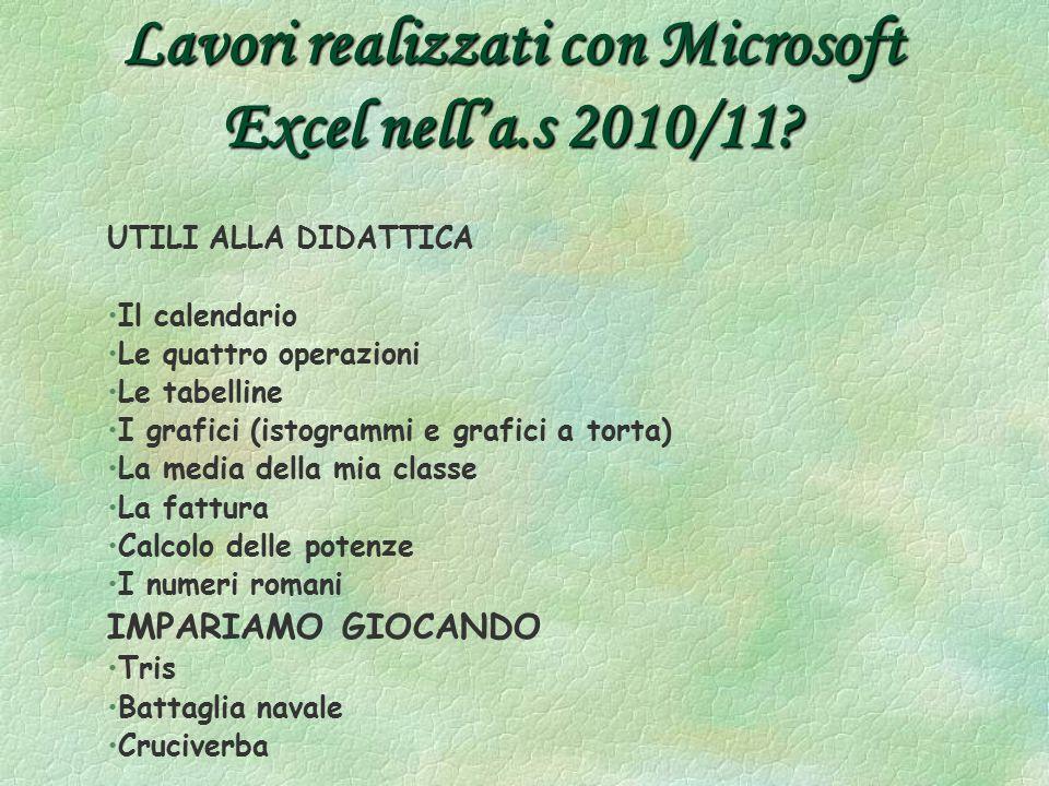 Lavori realizzati con Microsoft Excel nell'a.s 2010/11