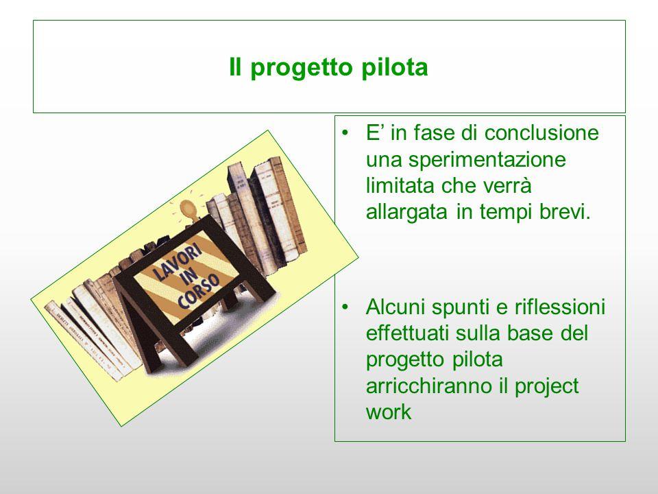 Il progetto pilota E' in fase di conclusione una sperimentazione limitata che verrà allargata in tempi brevi.
