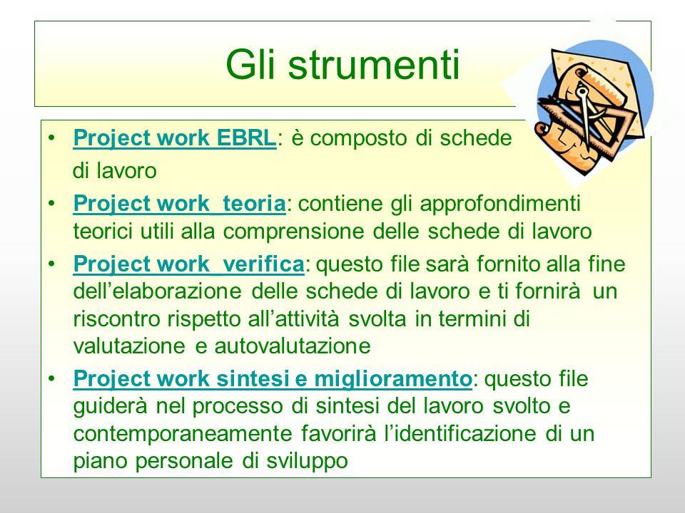Gli strumenti Project work EBRL: è composto di schede di lavoro