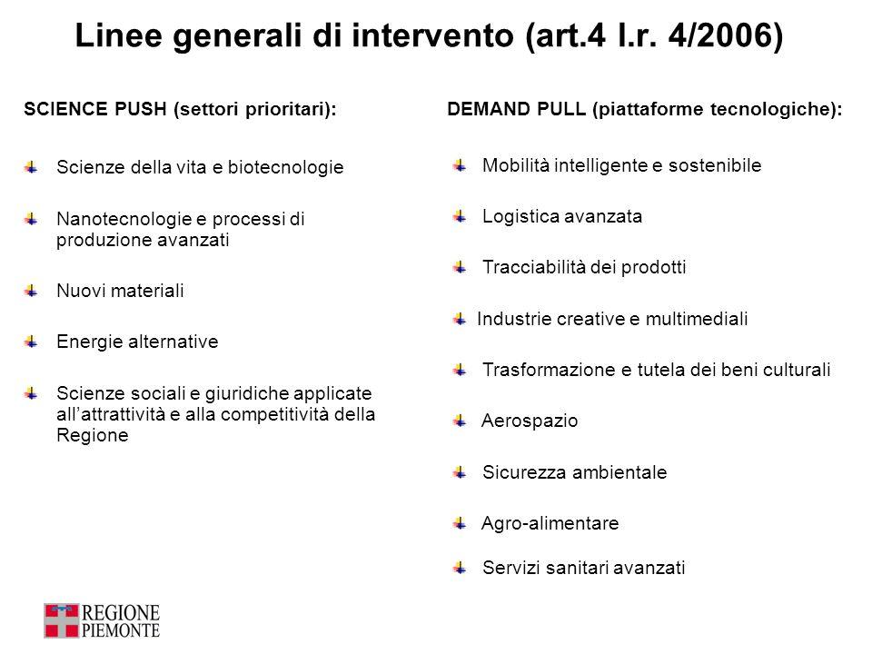 Linee generali di intervento (art.4 l.r. 4/2006)