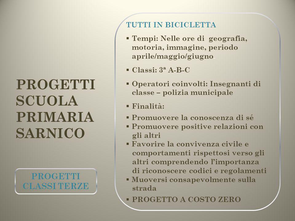 PROGETTI SCUOLA PRIMARIA SARNICO PROGETTI CLASSI TERZE