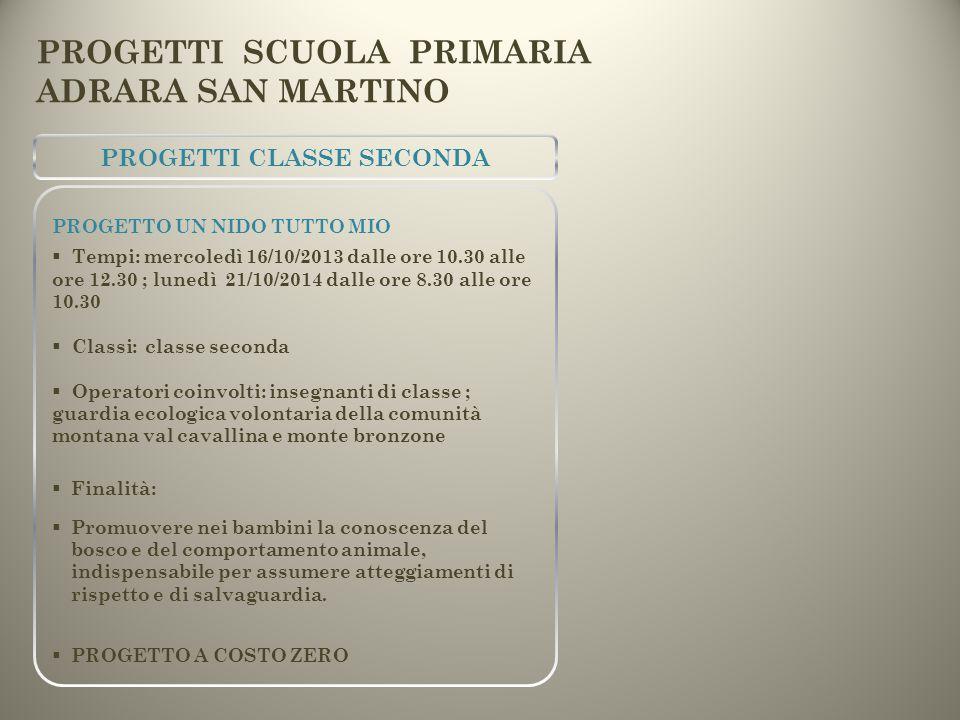 PROGETTI CLASSE SECONDA