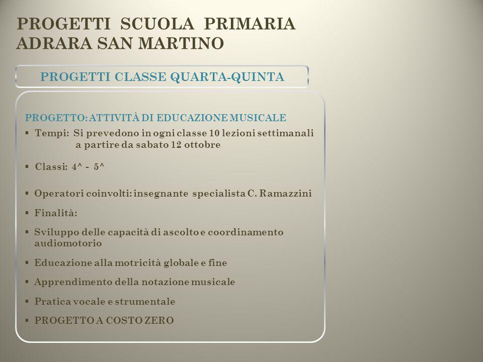 PROGETTI CLASSE QUARTA-QUINTA