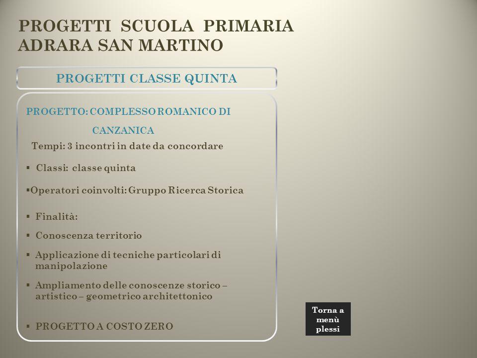 PROGETTI CLASSE QUINTA