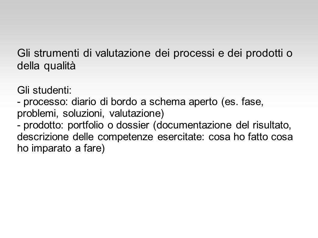 Gli strumenti di valutazione dei processi e dei prodotti o della qualità