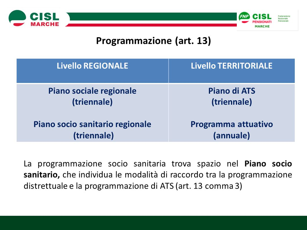 Piano sociale regionale Piano socio sanitario regionale