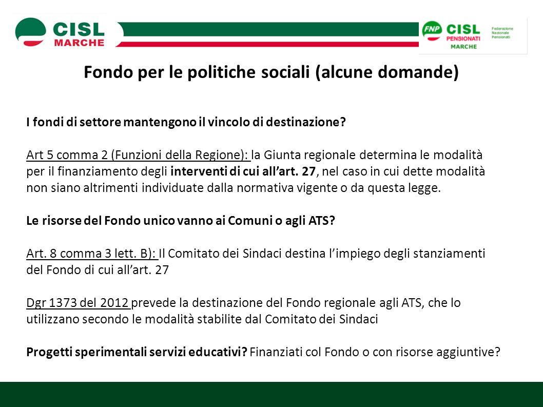 Fondo per le politiche sociali (alcune domande)