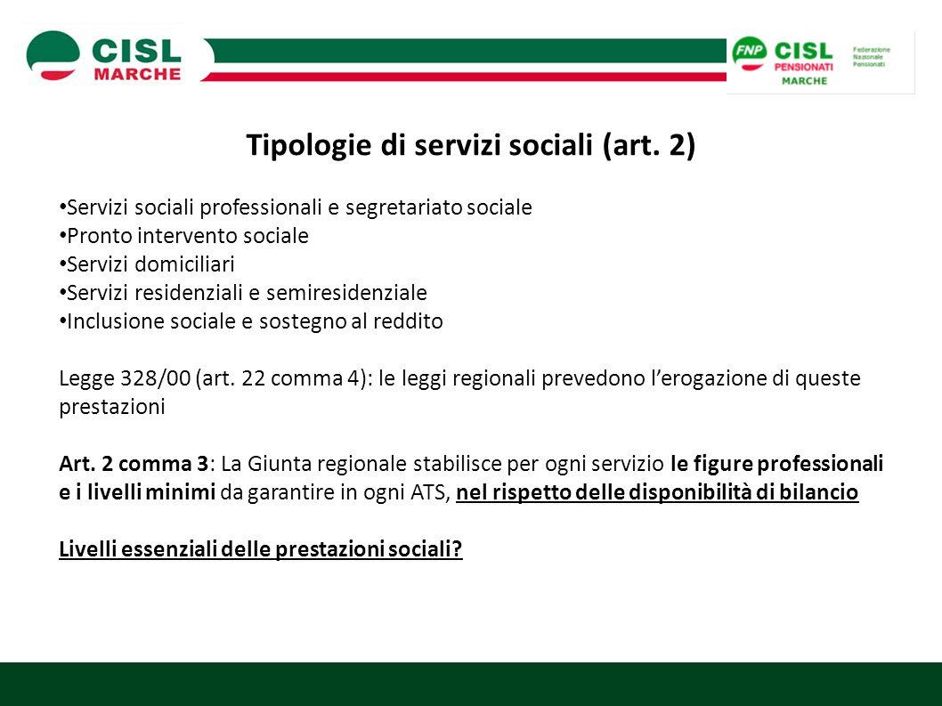 Tipologie di servizi sociali (art. 2)