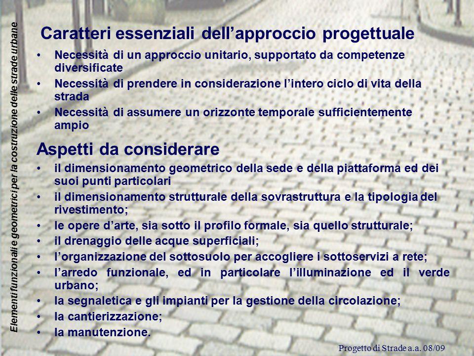 Caratteri essenziali dell'approccio progettuale