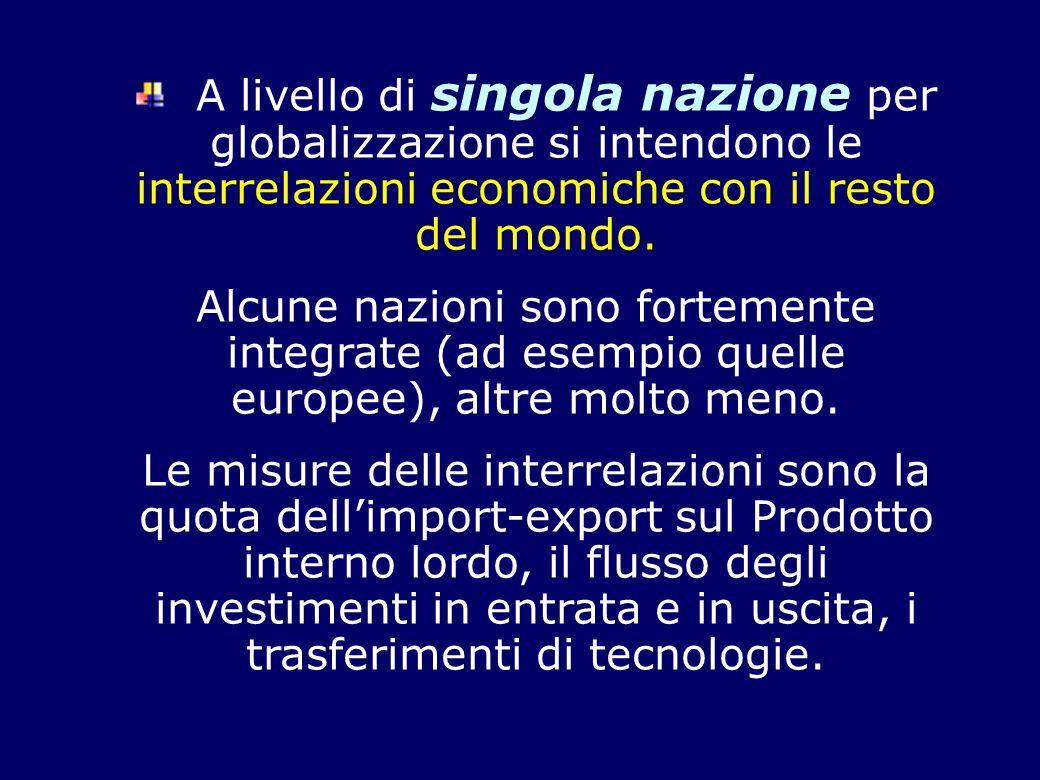 A livello di singola nazione per globalizzazione si intendono le interrelazioni economiche con il resto del mondo.
