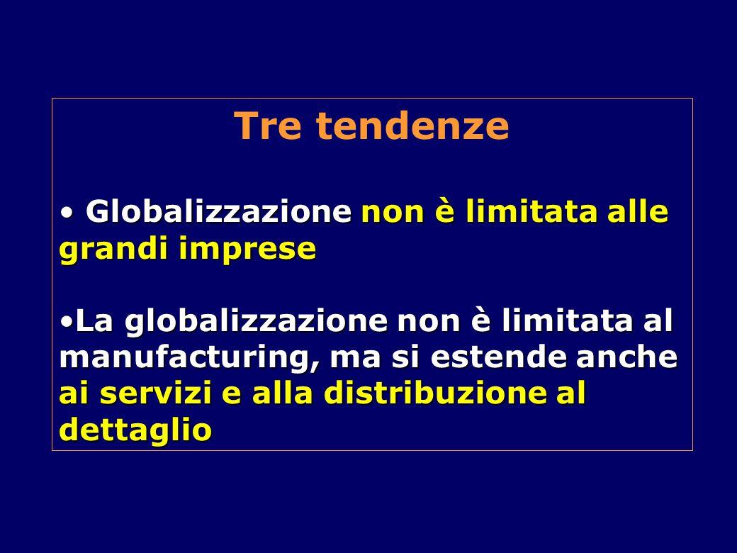 Tre tendenze Globalizzazione non è limitata alle grandi imprese