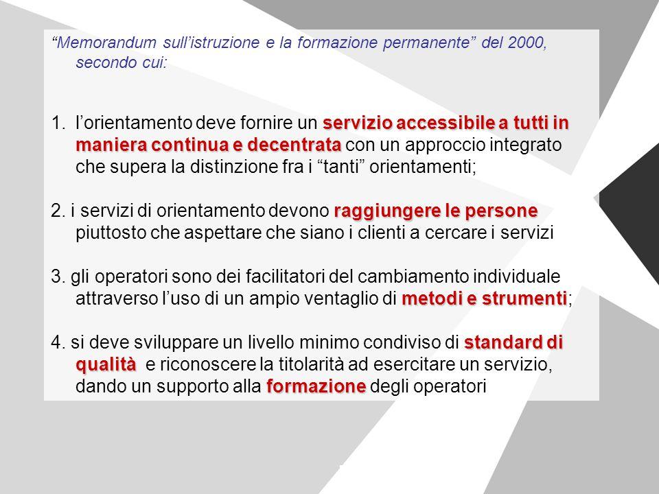 Memorandum sull'istruzione e la formazione permanente del 2000, secondo cui: