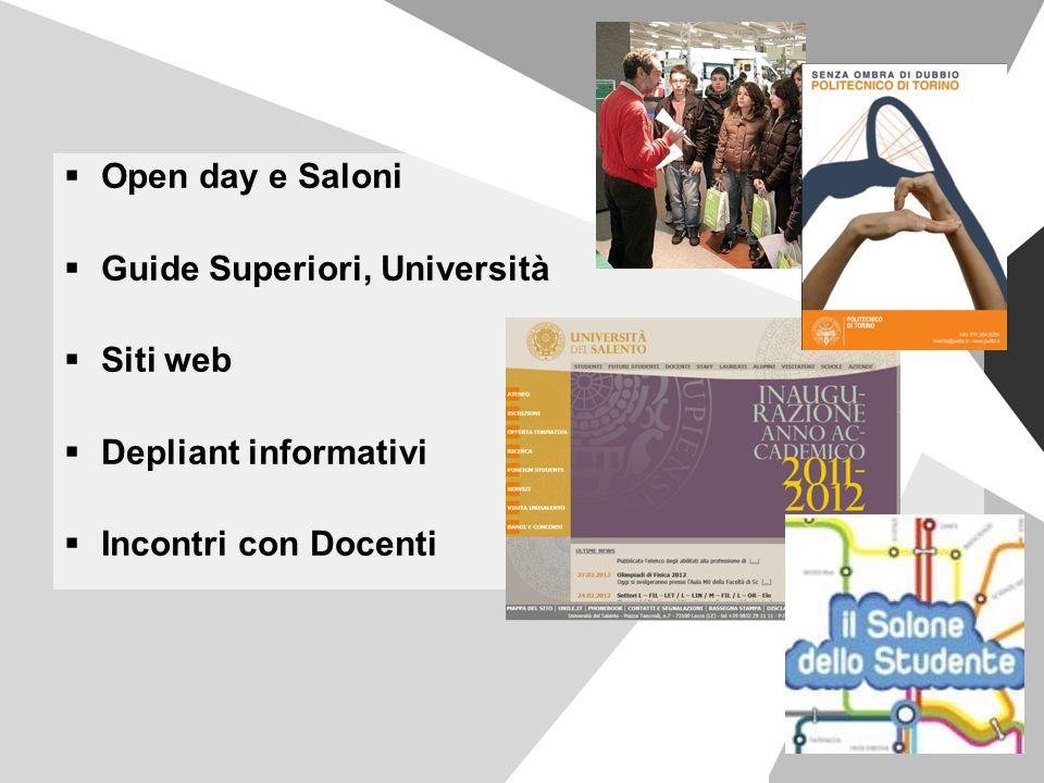 Open day e Saloni Guide Superiori, Università Siti web Depliant informativi Incontri con Docenti