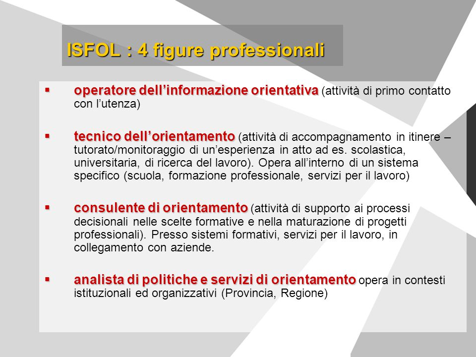 ISFOL : 4 figure professionali