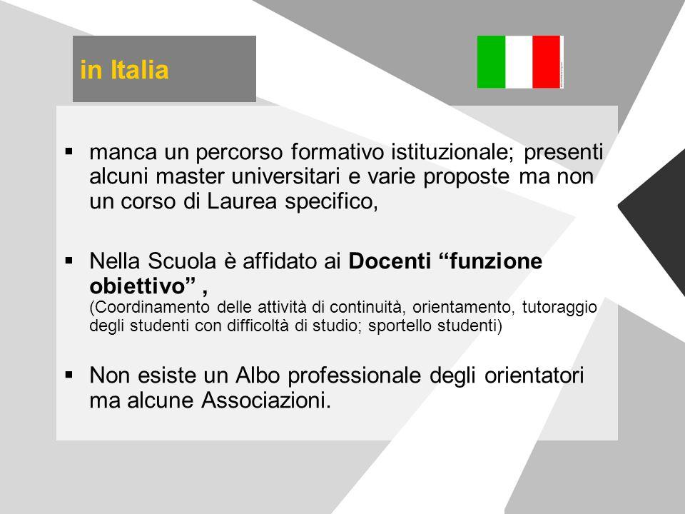 in Italia manca un percorso formativo istituzionale; presenti alcuni master universitari e varie proposte ma non un corso di Laurea specifico,