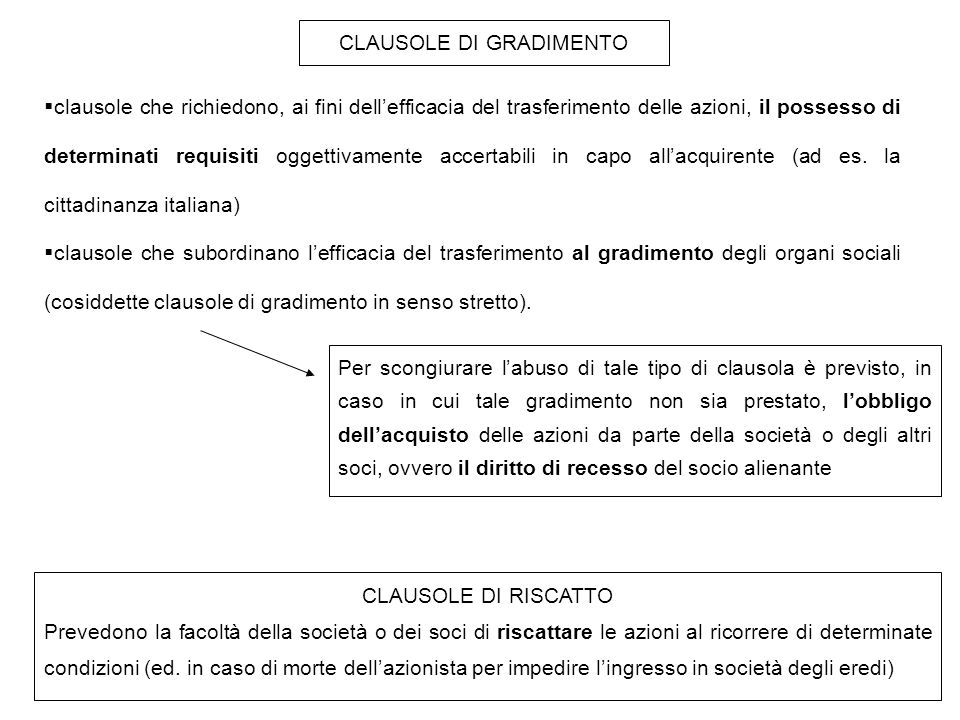CLAUSOLE DI GRADIMENTO