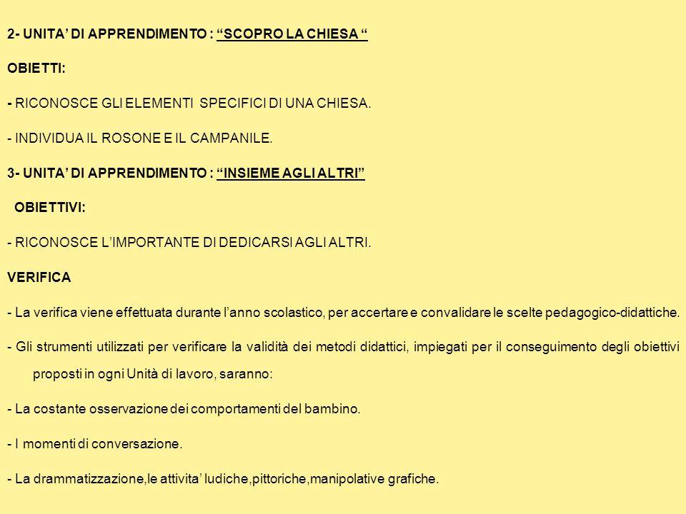 2- UNITA' DI APPRENDIMENTO : SCOPRO LA CHIESA OBIETTI: - RICONOSCE GLI ELEMENTI SPECIFICI DI UNA CHIESA.