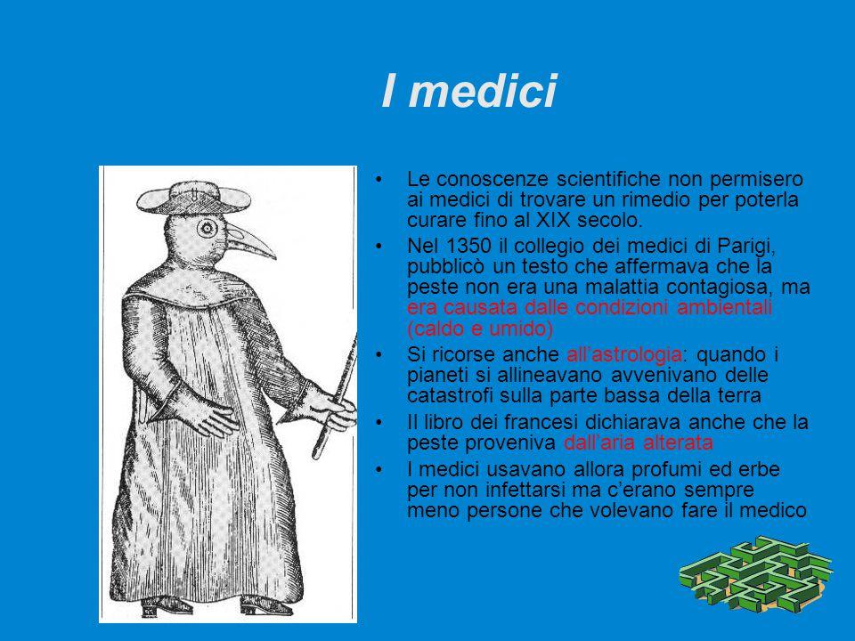 I medici Le conoscenze scientifiche non permisero ai medici di trovare un rimedio per poterla curare fino al XIX secolo.
