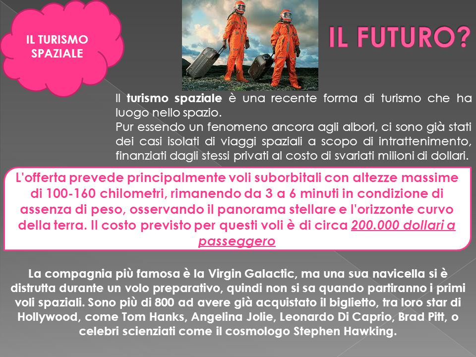 IL TURISMO SPAZIALE IL FUTURO Il turismo spaziale è una recente forma di turismo che ha luogo nello spazio.