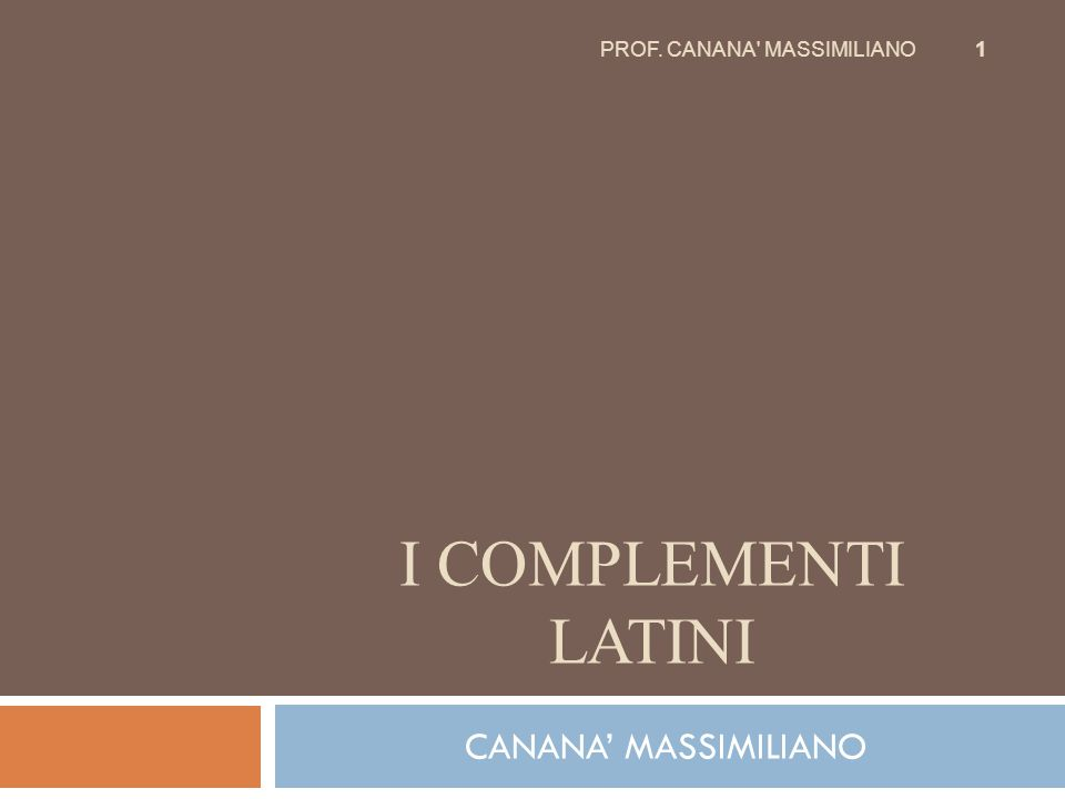 PROF. CANANA MASSIMILIANO