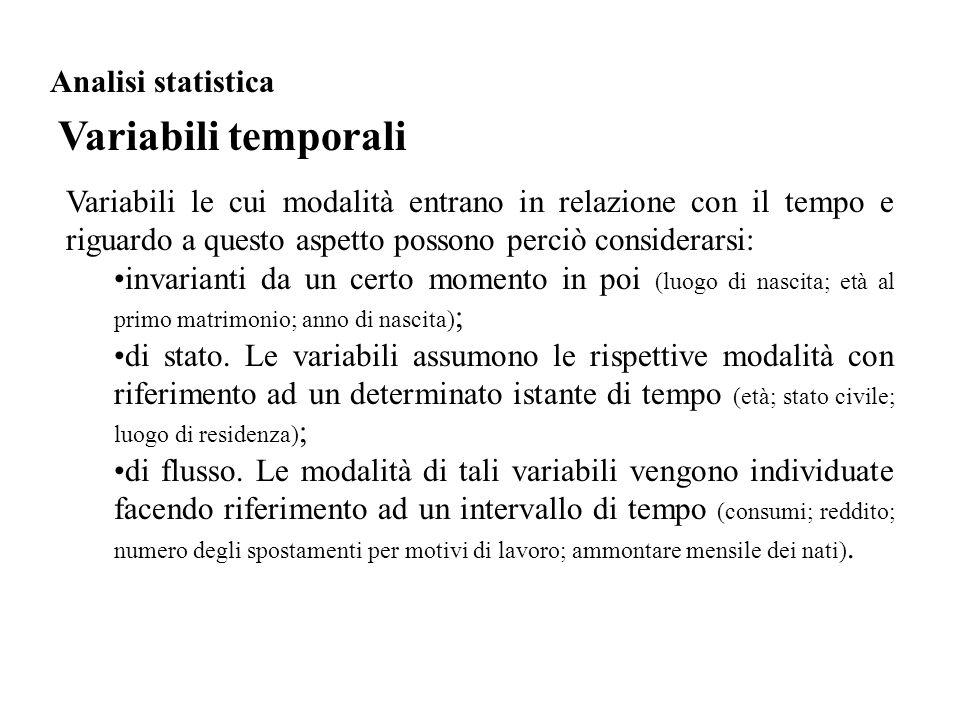 Variabili temporali Analisi statistica