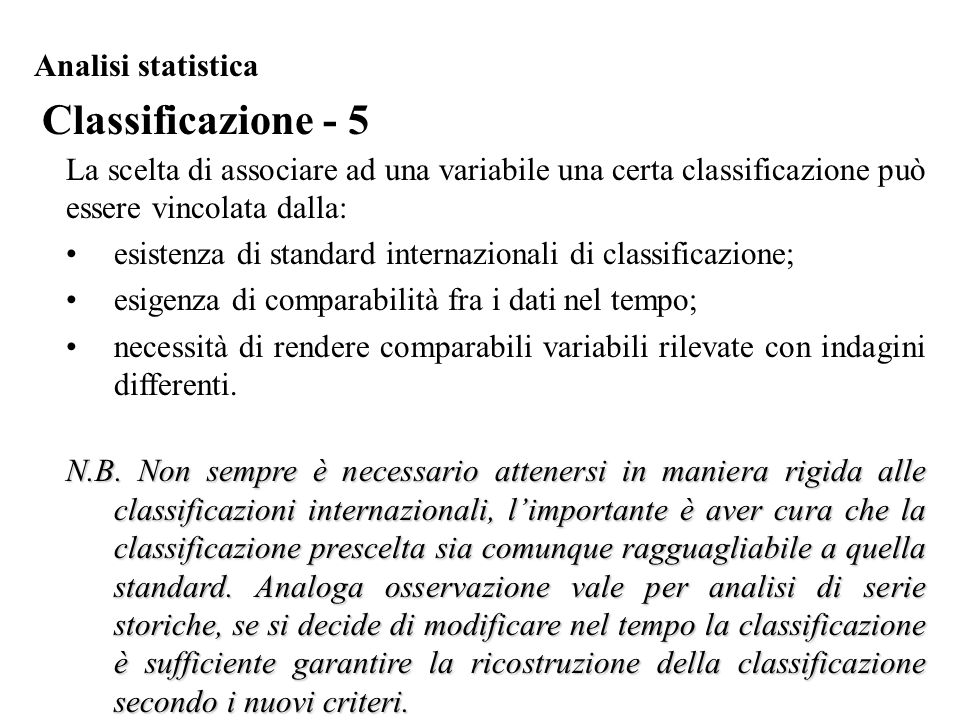 Classificazione - 5 Analisi statistica