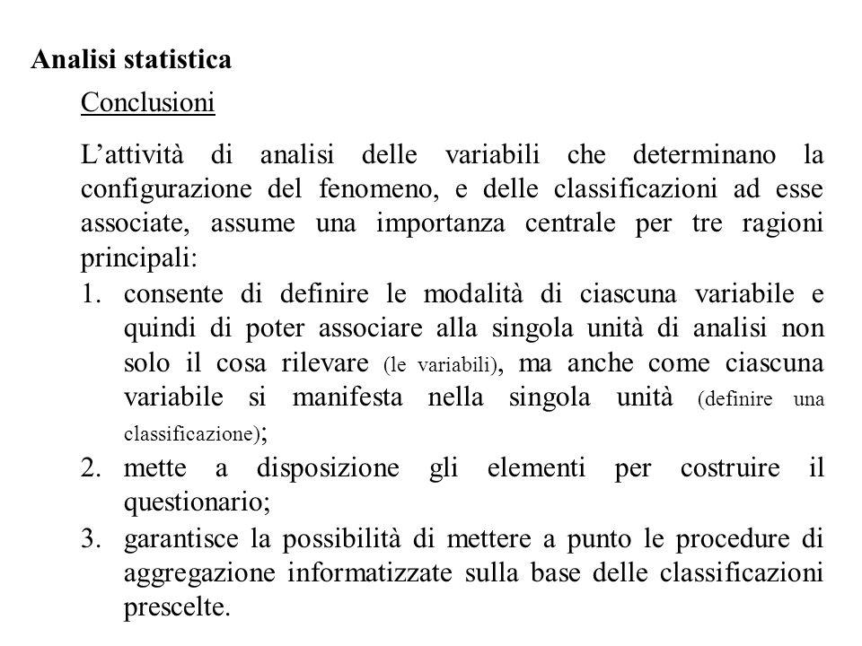 Analisi statistica Conclusioni.