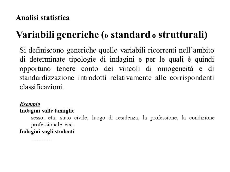 Variabili generiche (o standard o strutturali)