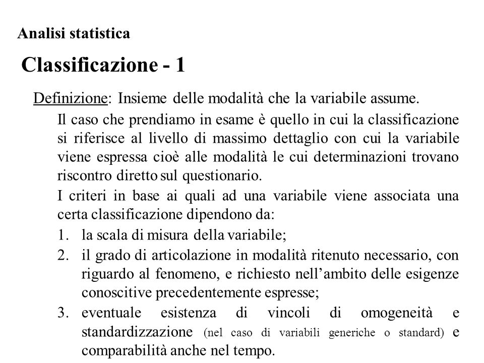 Classificazione - 1 Analisi statistica