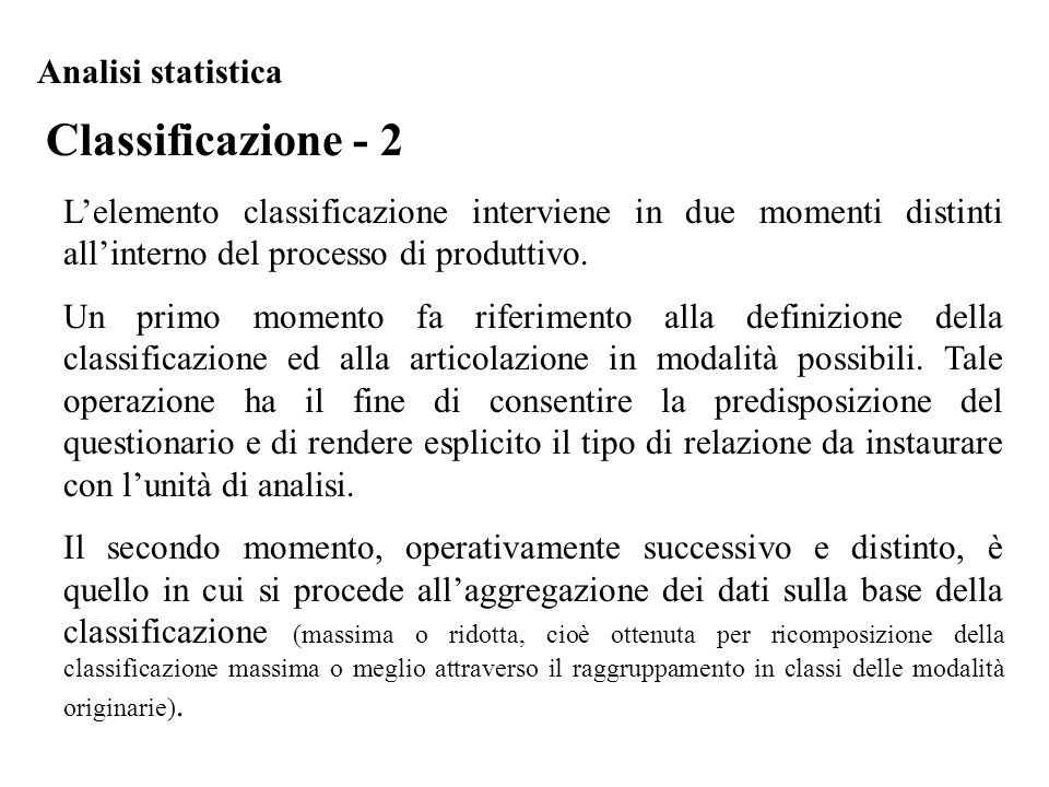Classificazione - 2 Analisi statistica