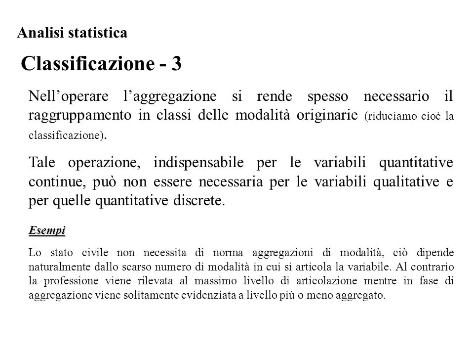 Classificazione - 3 Analisi statistica